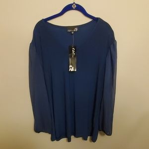 CSC Navy blue sheer sleeve blouse, NWT!